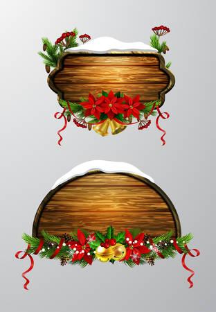 木製のクリスマスボードイラスト。