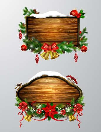 wooden christmas board Illustration