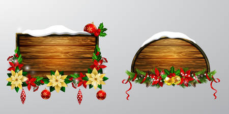 クリスマスの装飾が施された木製ボード
