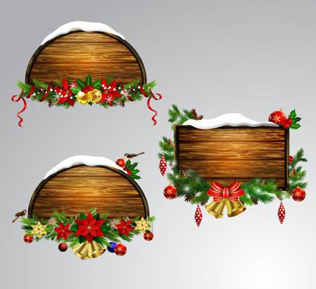 ベクトル木製クリスマスボード