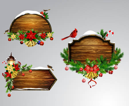 snow cardinal: Vector realistic illustration of wooden christmas board set with christmas tree Cardinal sparrow birds and decorations Illustration
