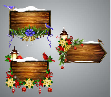 Set of realistic illustration of wooden board with christmas elements.