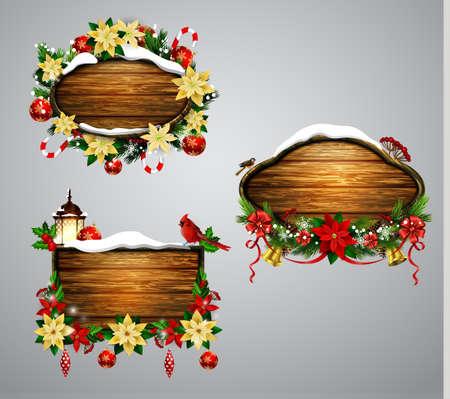 snow cardinal: Vector wooden christmas board Stock Photo