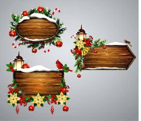 snow cardinal: Vector wooden christmas board Illustration