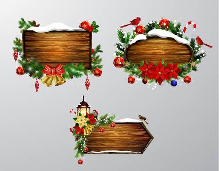 Vector wooden christmas board Ilustração