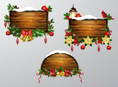 Vector wooden christmas board 向量圖像