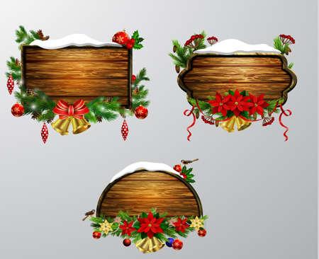 木製クリスマス ボード クリスマス ツリー雀と装飾設定のベクトル現実的なイラスト  イラスト・ベクター素材