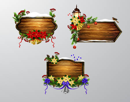 Set of realistic illustration of wooden christmas boards with christmas tree sparrow birds and decorations.