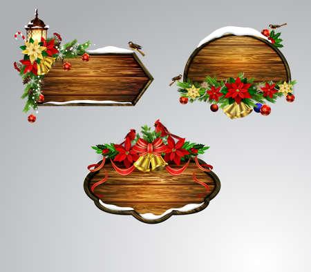 Vector wooden christmas board set.