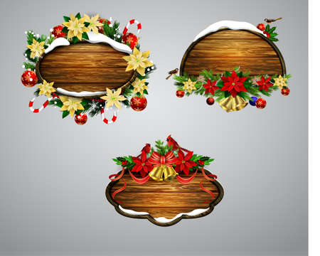 Vector wooden christmas board 免版税图像
