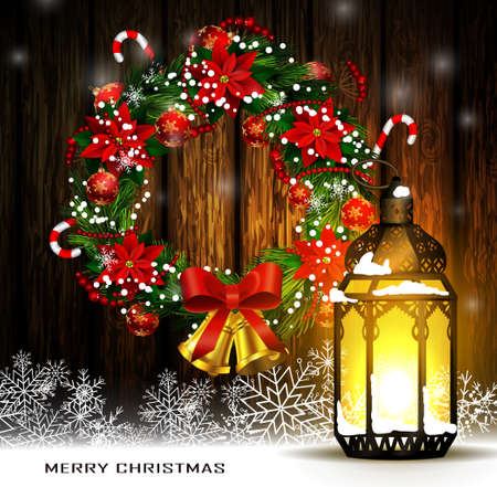 Wreath hanged in a wood with Christmas lantern or streetlights and snowflakes. 向量圖像