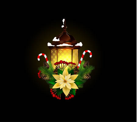Lantern decorated with Christmas decorations in black background