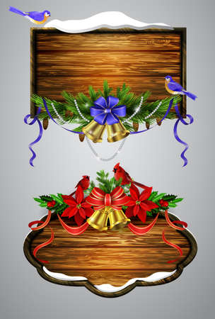 A realistic illustration of wooden Christmas board set with Christmas tree Cardinal tit birds and decorations
