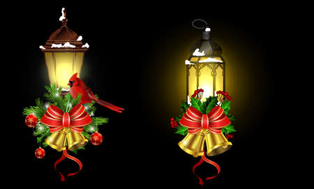 Christmas decoration set with street light and evergreen trees and golden bells with red bow and Cardinal bird Reklamní fotografie - 90063314
