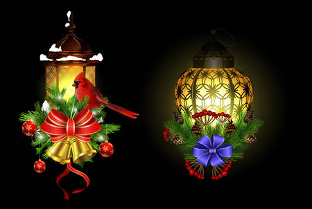 Christmas decoration set with street light and evergreen trees and golden bells with red bow and Cardinal bird