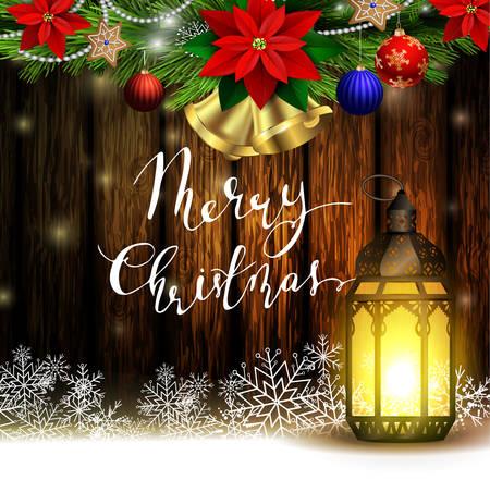 Christmas decoration with street lights 向量圖像