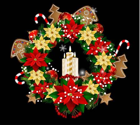 guirnaldas de navidad: Christmas decoration with street lights, candle
