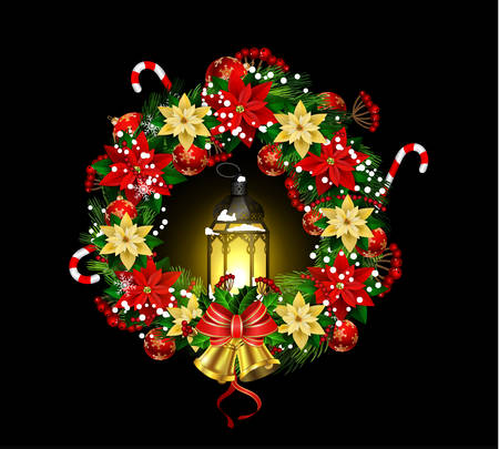 Christmas decoration with street lights, candle