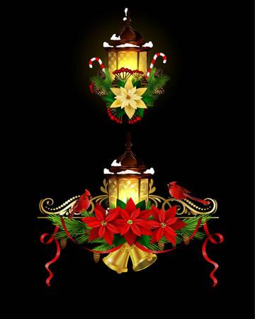 가로등 장식 크리스마스 일러스트
