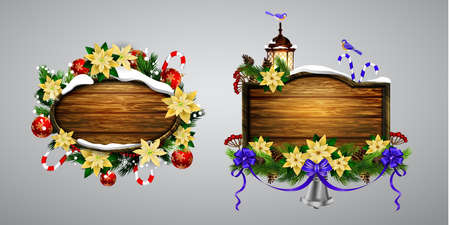 A Vector wooden board with christmas ornaments.