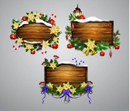 Vector wooden christmas board Ilustracja