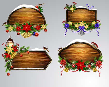 Vector wooden christmas board set