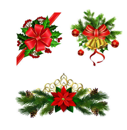 Christmas decoration with bow. Illustration