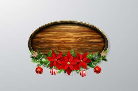 Vector wooden Christmas board Illustration