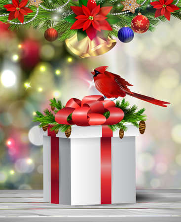 Background with Christmas gift box on blur Christmas tree bells Vector Illustration