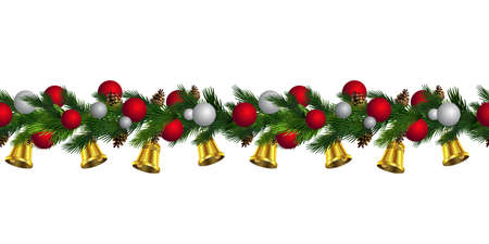 Vector Christmas Border with pinecones isolated on white