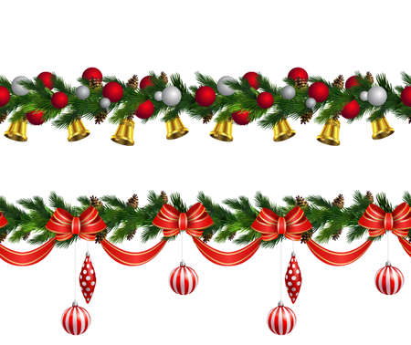 Vector Christmas Border set with pinecones isolated on white Illustration