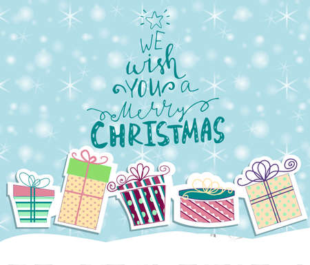 Christmas gift boxes cutout on snow background with handwritten greetings Vector