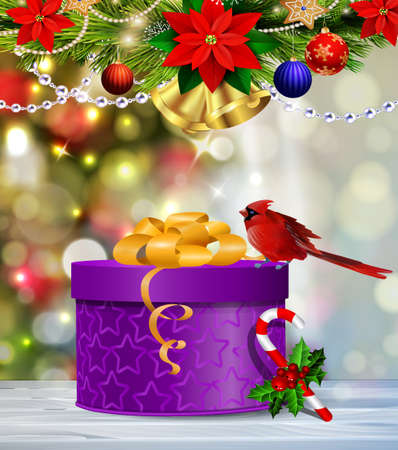 Background with Christmas gift box on blur Christmas tree background Cardinal bird and candy cane with holly with beads Vector Illustration