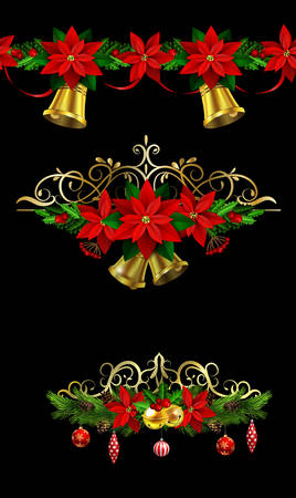 Christmas decoration collection with evergreen treess holly and metal swirl forging Vector seamless ornament included
