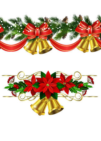 Vector Christmas Border collection with bells isolated on white Illustration