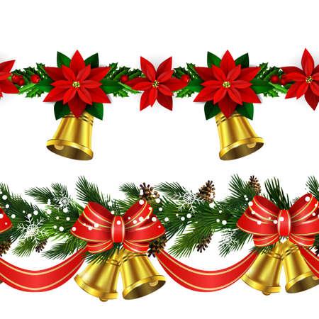 Christmas elements border. Illustration