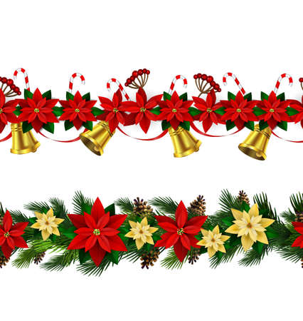 Christmas Border with poinsettias, bells, wreath design in colorful illustration.