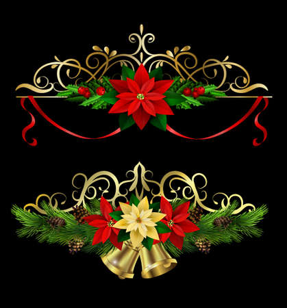 Christmas decoration collection with evergreen treess holly and metal swirl forging Vector Ilustração