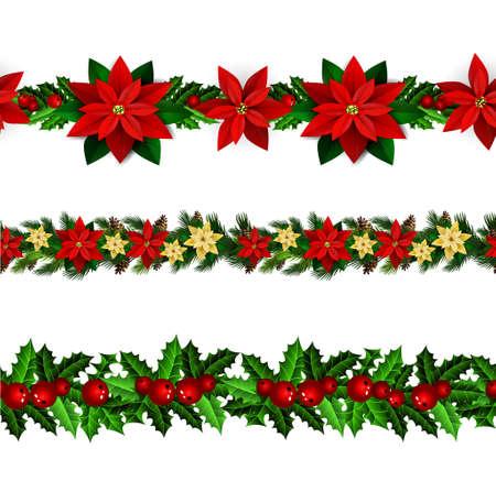 Set of Christmas borders on white background illustration. Ilustração