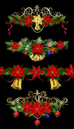 Christmas elements for your designs on black background illustration. Illustration