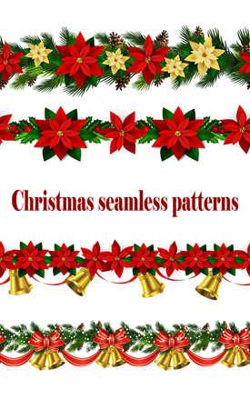 Vector Christmas border on white background illustration.