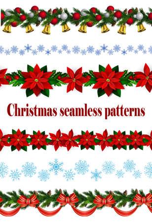 Set of a Seamless Christmas borders