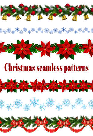 Set of a Seamless Christmas borders