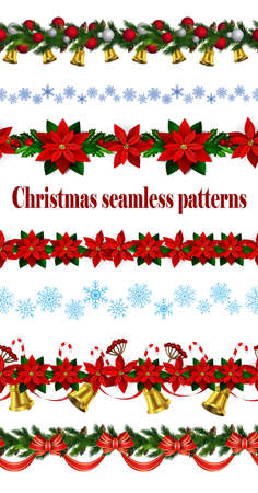 Set of  Seamless Christmas borders Vector illustration.