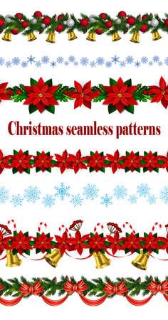 Set of  Seamless Christmas borders Vector illustration.