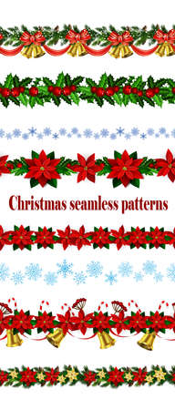Set of   Seamless Christmas borders Vector illustration. Illustration
