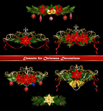 Christmas decoration collection with evergreen treess holly and metal swirl forging Vector Illustration