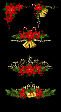 Christmas decoration collection with evergreen treess holly and metal swirl forging Vector Ilustrace