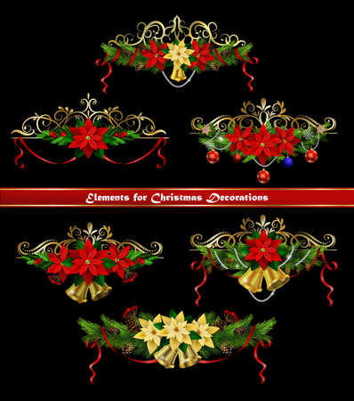 Christmas elements for your designs vector illustration