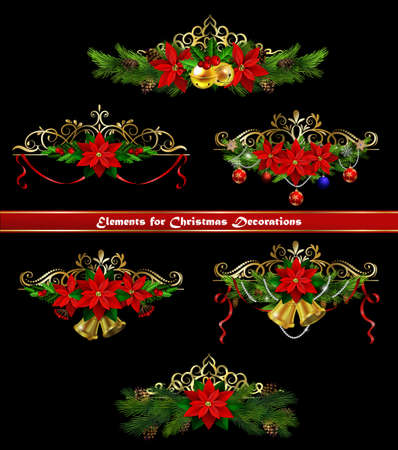 Christmas border elements for your designs template. Illustration